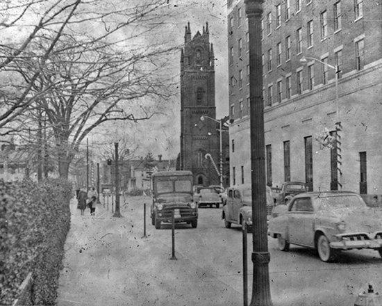 Stamford Baptist Church 1954, view from Broad Street looking East