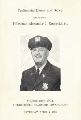 cover page of 1970 Dance and Testimonial Dinner for Al Koproski