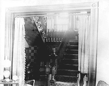 The Judd Home on Glenbrook Avenue, staircase, c. 1907