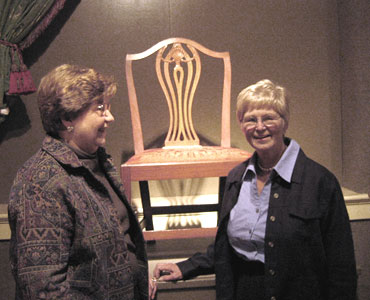 Mrs.Coley and Margaret Bowen, curator for the chair exhibit