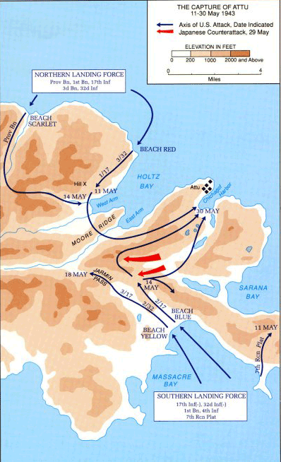map of Attu campaign 1943