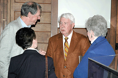 Mort Walker talking with guests