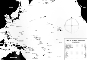 map of the Pacific, depicting Peleliu by arrow, click for large image