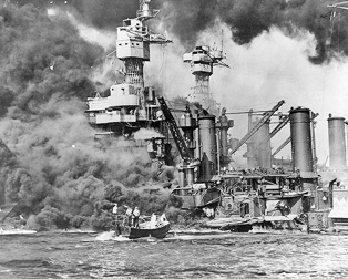 USS West Virginia after Pearl Harbor attack (National Archives)