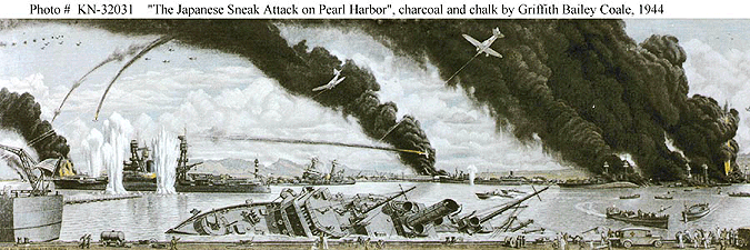The Japanese Sneak Attack on Pearl Harbor. Charcoal and chalk by Commander Griffith Bailey Coale, USNR