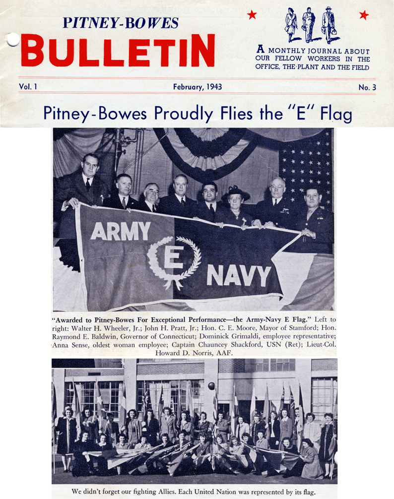 Pitney Bowes Proudly Flies the 'E' Flag, February 1943 bulletin
