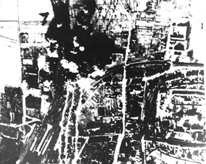 bombing site, after