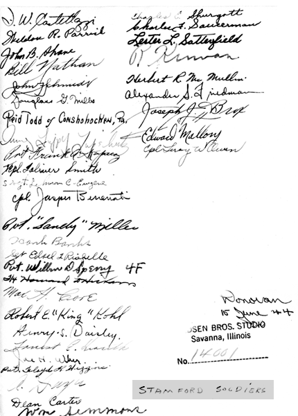 Stamford soldiers' signatures on back of photo above