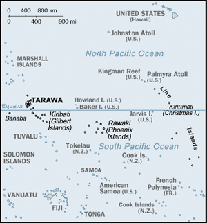 Location of Tarawa in the Pacific Ocean.
