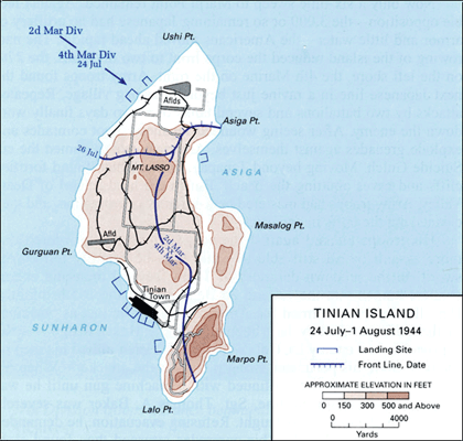 Tinian Island 24 July to 1 August 1944