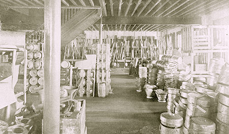 a corner in the storage department, goods are received by the carload