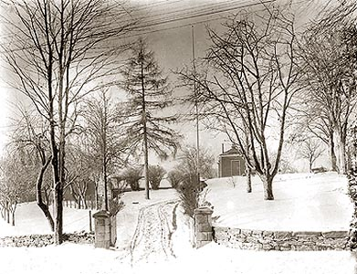 winter scene, playhouse in the background