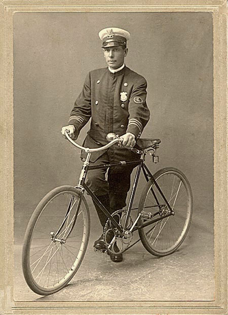 Arnold Kurth, first bicycle policeman, 1892