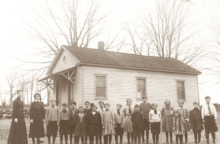 Bangall School and Class 1911, with Mrs. Sara Stevens, postcard, click here for more