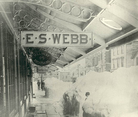 Store of E.S.Webb behind mounds of snow