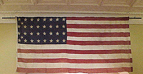 hand sewn 34 star flag owned by Wm. H. Lockwood of Company B, 28th Regiment