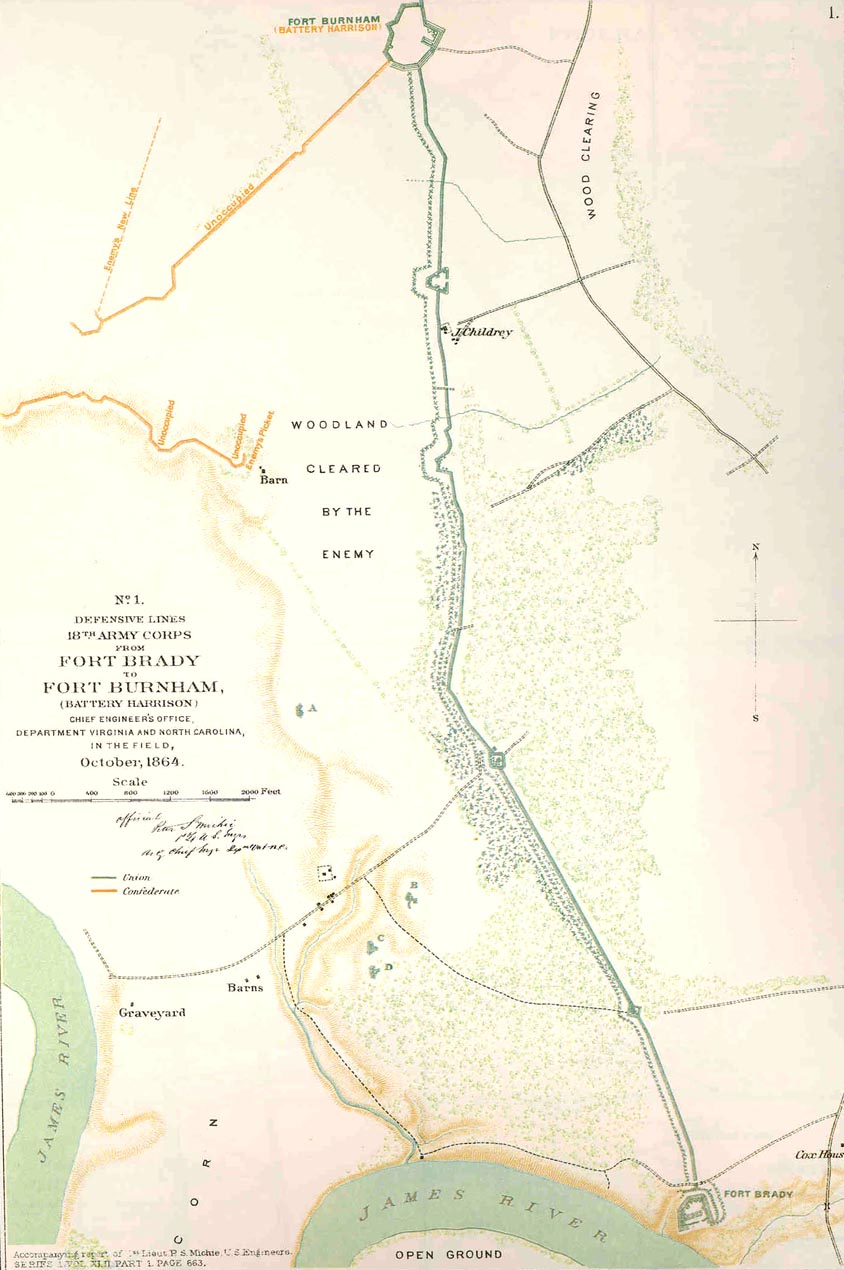 Defense lines from Fort Brady to Fort Burnham (Battery Harrison), October 1864