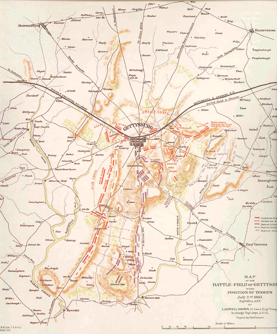 Gettysburg, position of troops, July 2nd, 1863