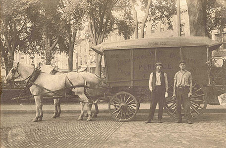 undated photo of a delivery cart at Central Park