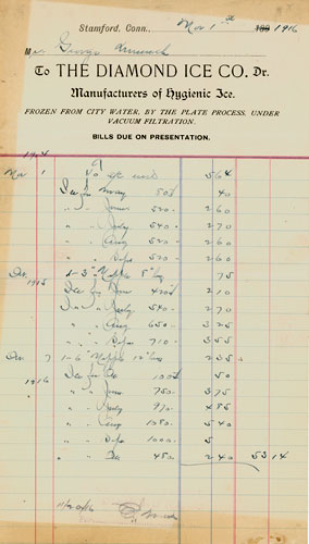 Diamond Ice Company, 1916 invoice