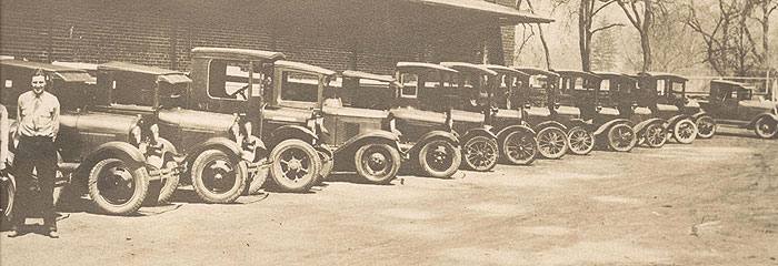 Diamond Ice Company delivery trucks, c. 1920