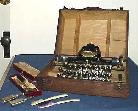 Blickensderfer portable typewriter with case and tools