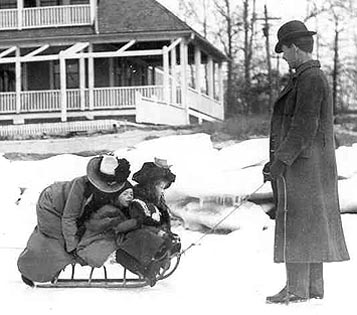 Franklin with his family on the ice outside the Stamford Yacht Club, enlargement