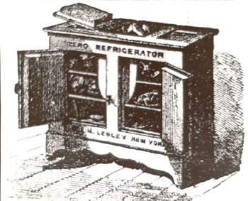 drawing of an early icebox