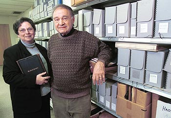 Linda Baulsir and Irwin Miller in the archives room
