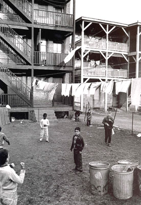 Children playing at Pacific Street tenements