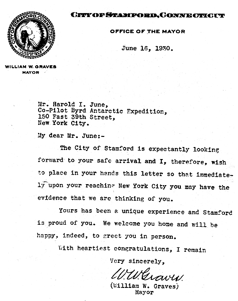 letter from Mayor Graves to Harold June