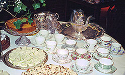 a section of the tea table, waiting for the guests