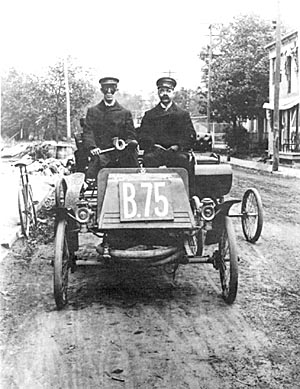 Joe Mechaley & Belden Brown in a Standard 1902 in an undated photo