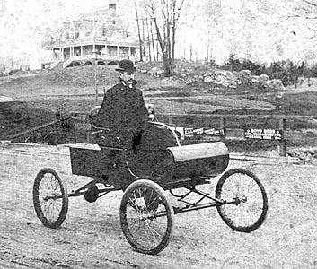 John Mechaley in Stamford's First Oldsmobile, 1896
