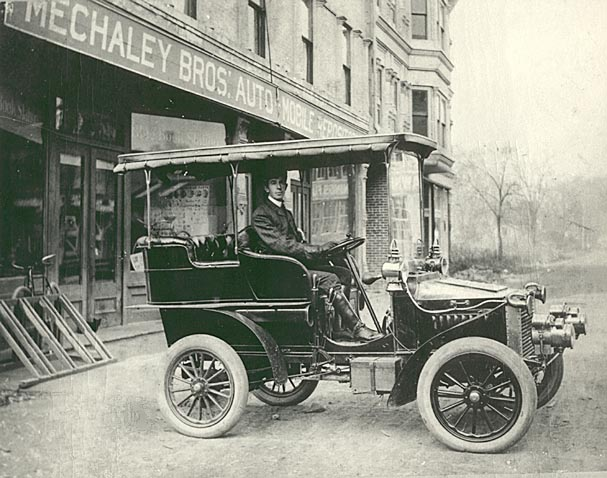 Joe Mechaley in a 1902 White steam automobile