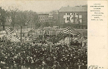 a postcard of the cornerstone ceremony