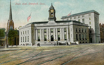 Postcard, around 1909. The Congregational Church is still there. There are still street railroad tracks