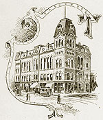 sketch of old town hall with letter T