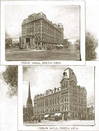 photos of the town hall, from the book, click here for enlarged views