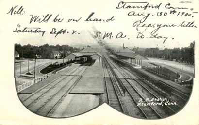 post card: Railroad Station, bird's eye view