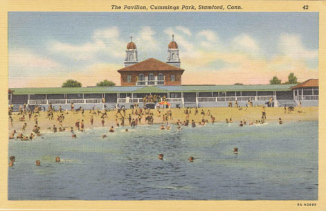 Undated postcard titled 'The Pavilion, Cummings Park, Stamford, Conn.'