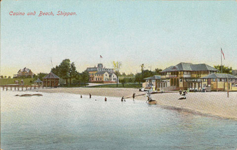 Undated postcard titled 'Casino and Beach, Shippan'.