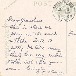 Inscription on above postcard.