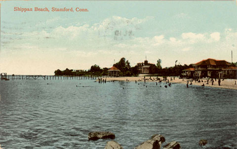 Postcard titled 'Shippan Beach, Stamford, Conn. Cancelled July 10, 1909. See inscription below.