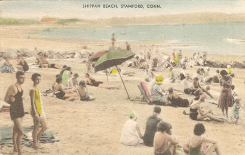 Undated postcard titled 'Shippan Beach, Stamford, Conn. From the bathing costumes, it looks like early 1930s.