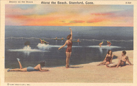 Undated postcard titled 'Along the Beach, Stamford, Conn., Beauty on the Beach.'