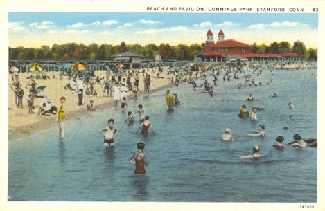 Undated postcard titled 'Beach and Pavilion, Cummings Park, Stamford, Conn.'