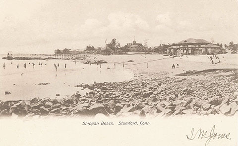 Postcard titled 'Shippan Beach, Stamford, Conn. Cancelled April 26, no year on stamp.