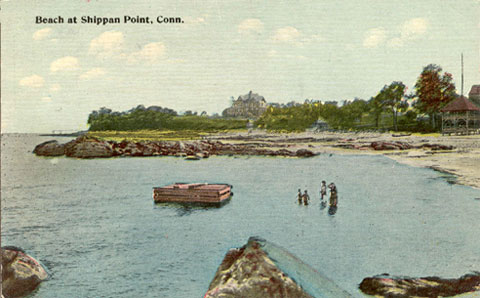 Postcard titled 'Beach at Shippan Point'