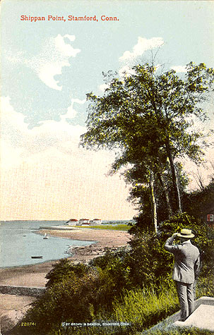 Undated postcard titled 'Shippan Point, Stamford, Conn.' A gentleman looks towards the Point.